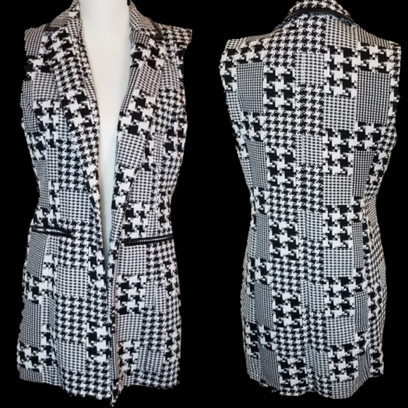 NY Collection Jackets & Blazers - NY Collection Houndstooth Tunic Vest